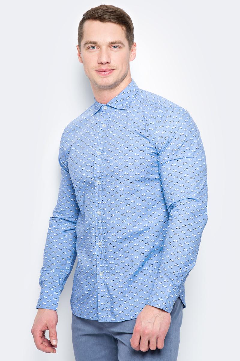 Рубашка муж United Colors of Benetton, цвет: голубой. 5BWF5QBN8_919. Размер S (46/48) рубашка мужская system of hegemony zb zm6085 2015