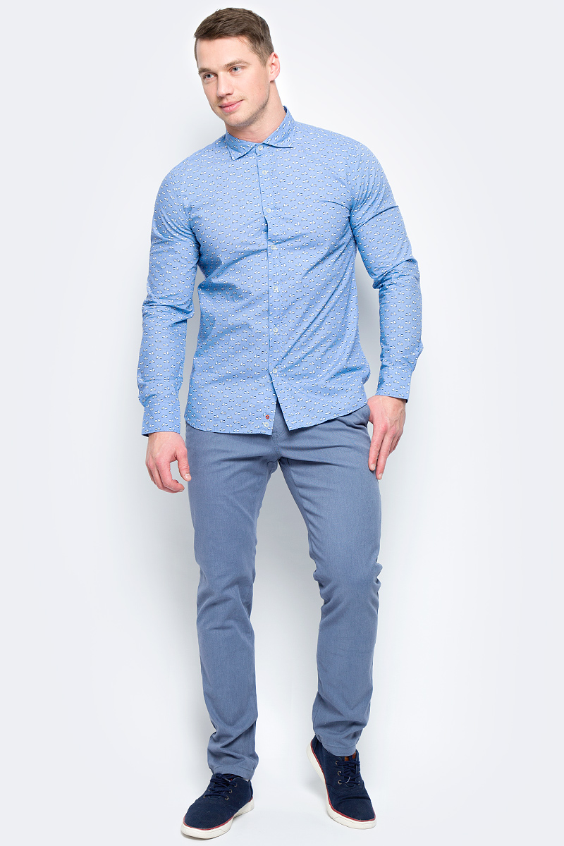 Рубашка мужская United Colors of Benetton, цвет: голубой. 5BWF5QBN8_919. Размер L (50/52)5BWF5QBN8_919Рубашка мужская United Colors of Benetton выполнена из натурального хлопка. Модель с отложным воротником застегивается на пуговицы.