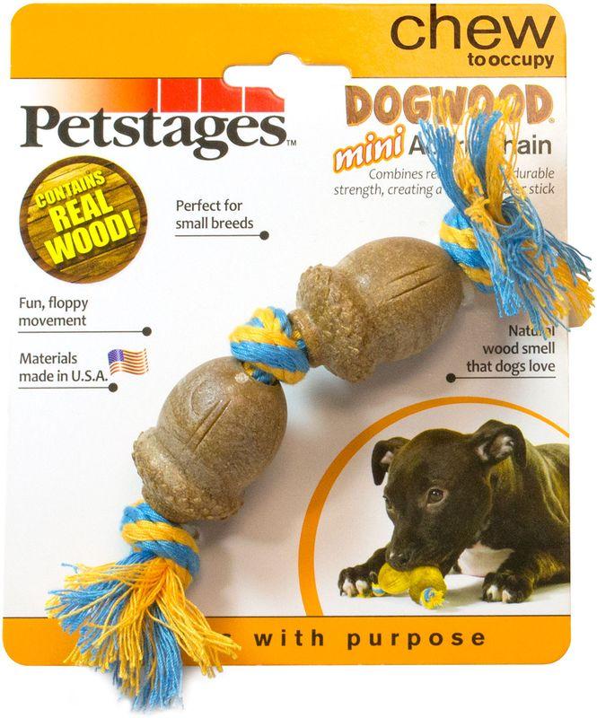 Игрушка для собак Petstages Dogwood. Желудь, длина 15 см205YEXИгрушка Petstages Dogwood. Желудь предназначена для собак мелких пород. Сочетает в себе свойства настоящих деревянных палок и прочность синтетических материалов. - Не токсичный, прочный материал безопаснее, чем реальные палочки. - Хлопковый канат привлекает питомца, а также снимает мягкий зубной налет в процессе игры, что способствует профилактики зубного камня. - Игрушка плавает на поверхности воды.- Запах натурального дерева привлекает и удерживает интерес собаки в течение нескольких часов. - Отлично подходит для собак, которые любят жевать.- Для собак весом от 6 до 14 кг.