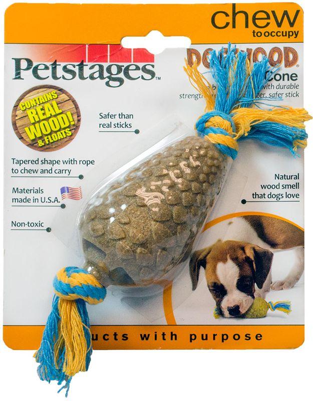Игрушка для собак Petstages Dogwood. Шишка, длина 14 см214YEXИгрушка собак мелких пород. Сочетает в себе свойства настоящих деревянных палок и прочность синтетических материалов. Не токсичный, прочный материал безопаснее, чем реальные палочки. Хлопковый канат привлекает питомца, а также снимает мягкий зубной налет в процессе игры, что способствует профилактики зубного камня. Игрушка плавает на поверхности воды.Запах натурального дерева привлекает и удерживает интерес собаки в течение нескольких часов. Отлично подходит для собак, которые любят жевать.