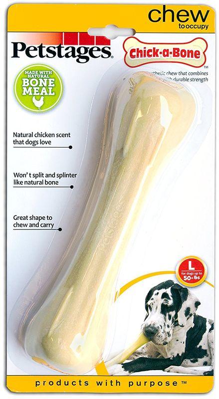 Игрушка для собак Petstages Chick-A-Bone. Косточка, с ароматом курицы, длина 18 см лакомство жевательное для собак green qzin улыбка мозговая косточка