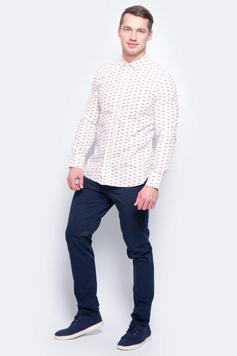 Рубашка муж United Colors of Benetton, цвет: белый. 5BWF5QBN8_920. Размер M (48/50)5BWF5QBN8_920Рубашка мужская United Colors of Benetton выполнена из натурального хлопка. Модель с отложным воротником застегивается на пуговицы.