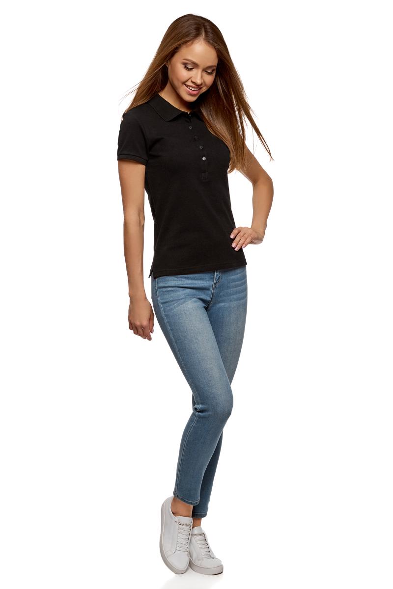 Поло женское oodji Ultra, цвет: черный. 19301001-1B/46161/2900N. Размер XXS (40)19301001-1B/46161/2900NПоло женское oodji Ultra изготовлено из высококачественного хлопка. Имеет короткие рукава и застегивается спереди на пуговицы.