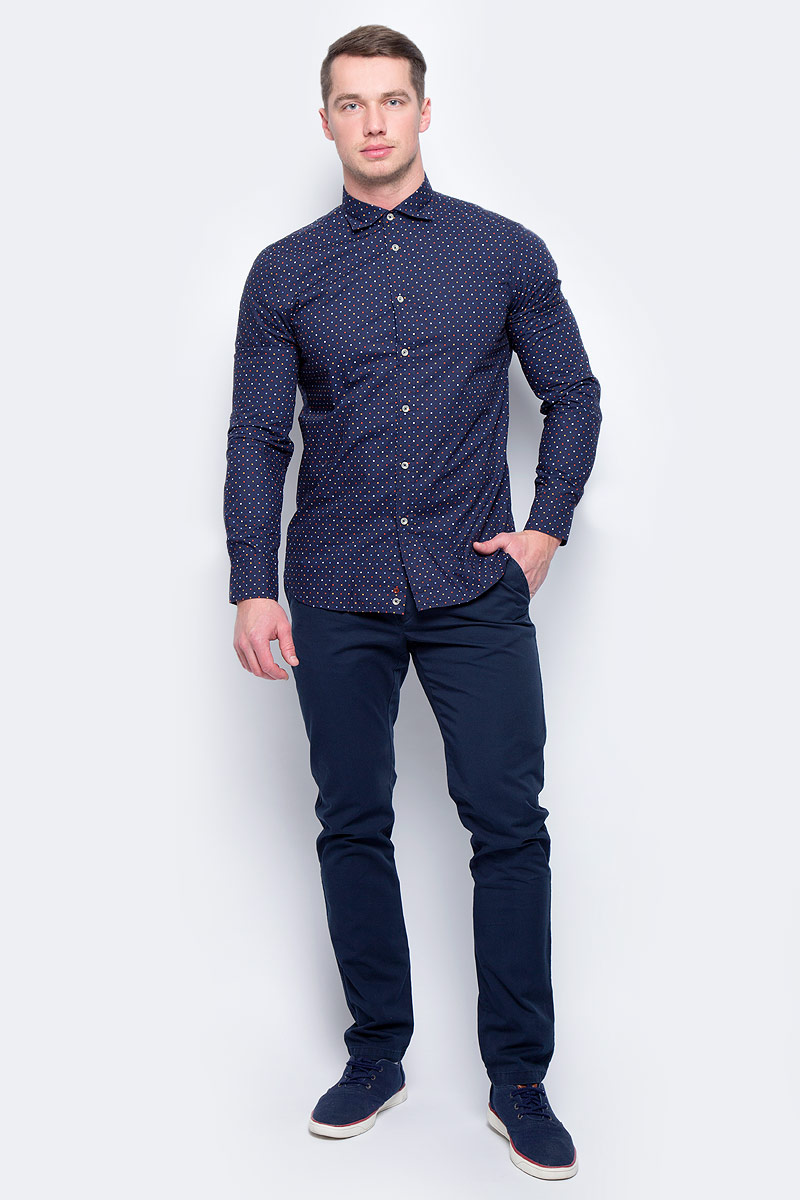 Рубашка муж United Colors of Benetton, цвет: синий. 5BWF5QBN8_915. Размер M (48/50)5BWF5QBN8_915Рубашка мужская United Colors of Benetton выполнена из натурального хлопка. Модель с отложным воротником застегивается на пуговицы.