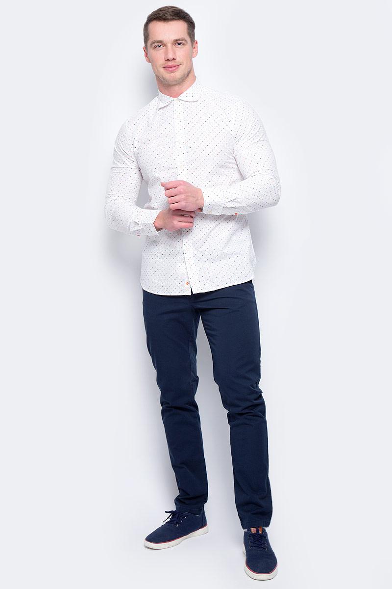Рубашка муж United Colors of Benetton, цвет: белый. 5BWF5QBN8_922. Размер L (50/52)5BWF5QBN8_922Рубашка мужская United Colors of Benetton выполнена из натурального хлопка. Модель с отложным воротником застегивается на пуговицы.