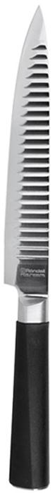 Нож разделочный Rondell Flamberg, длина лезвия 20 смRD-681Разделочный нож изготовлен из высококачественной нержавеющей сталиX30Cr13.Характеристики:Особенности клинка: двусторонняя заточка лезвий, идеальнаябалансировка,твердость по шкале Роквелла 52-55 HRC.Материал рукоятки: прорезиненные ручки с удобным хватом, не позволяющим рукескользить.Использование: не рекомендуется мыть в посудомоечной машине.