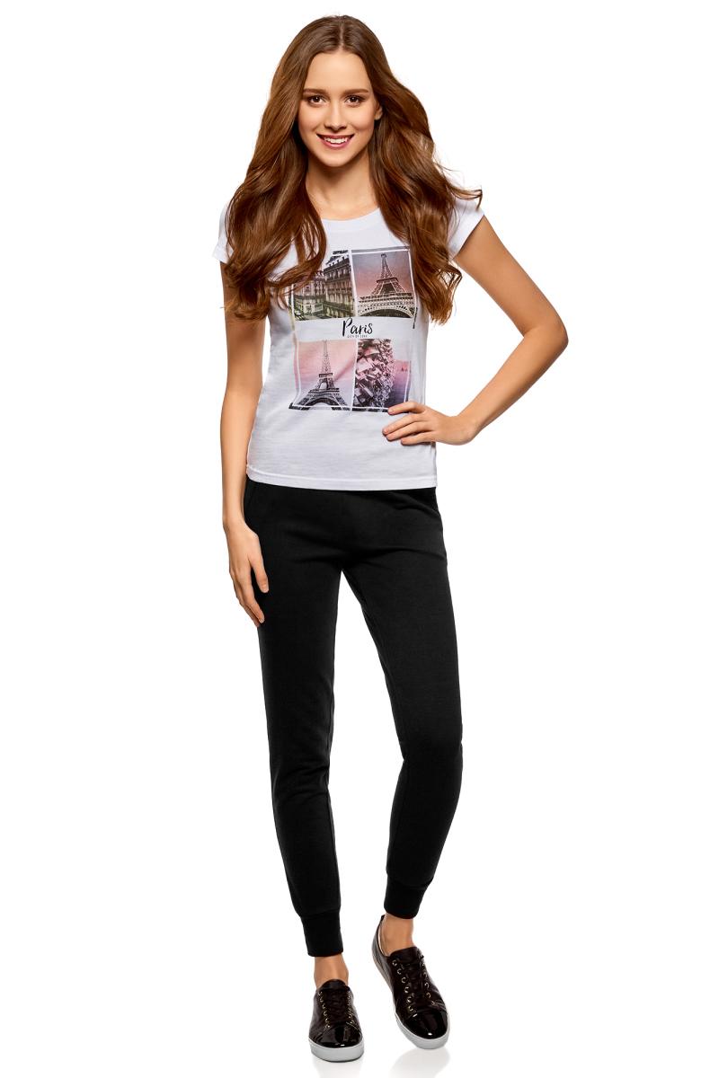 Брюки женские oodji Ultra, цвет: черный. 16701055B/47999/2900N. Размер M (46)16701055B/47999/2900NЖенские брюки, выполненные из натурального хлопка, подойдут как для повседневной носки, так и для занятий спортом. Модель на талии имеет широкую эластичную резинку со шнурком-кулиской. Спереди брюки оснащены двумя втачными карманами. Низ брючин дополнен трикотажными манжетами.