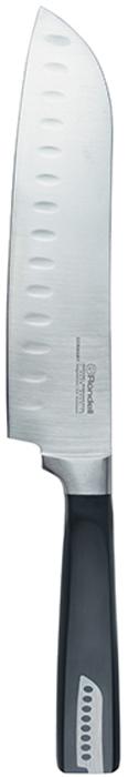 Нож сантоку Rondell Cascara, длина лезвия 17,8 смRD-687Нож Santoku Rondell Cascara изготовлен из высококачественной нержавеющейстали X30Cr13.Характеристики:Особенности клинка: двусторонняя заточка лезвий, идеальная балансировка,твердость по шкале Роквелла 52-55 HRC.Материал рукоятки: бакелит с вставками из нержавеющей стали в виде клинканожа.Использование: не подходит для посудомоечной машины.