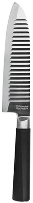 Нож сантоку Rondell Flamberg, длина лезвия 17,7 смRD-682Нож изготовлен из высококачественной нержавеющей стали X30Cr13. Характеристики: Особенности клинка: двусторонняя заточка лезвий, идеальная балансировка,твердость по шкале Роквелла 52-55 HRC. Материал рукоятки: прорезиненные ручки с удобным хватом, не позволяющим руке скользить. Использование: не рекомендуется мыть в посудомоечной машине.