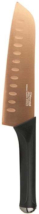 Нож сантоку Rondell Gladius, длина лезвия 18 смRD-692Нож Santoku Gladius Rondell 18 см RD-692, коллекция: Gladius.Материал клинка: высококачественная немецкая нержавеющая сталь X30Cr13.Особенности клинка: двусторонняя заточка лезвий, идеальная балансировка, твердость по шкале Роквелла 52-55 HRC.Материал рукоятки: прорезиненные ручки с удобным хватом, не позволяющим руке скользитьИспользование: не рекомендуется мыть в посудомоечной машинеУпаковка: блистер