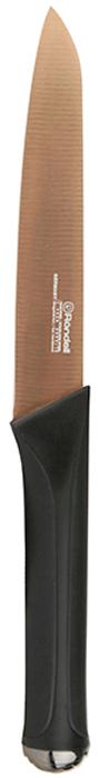 Нож универсальный Rondell Gladius, длина лезвия 12,7 смRD-693Нож универсальный Gladius Rondell изготовлен из высококачественной немецкойнержавеющей стали X30Cr13.Характеристики:Особенности клинка: двусторонняя заточка лезвий, идеальная балансировка,твердость по шкале Роквелла 52-55 HRC.Материал рукоятки: прорезиненные ручки с удобным хватом, не позволяющим рукескользить.Использование: не рекомендуется мыть в посудомоечной машине.