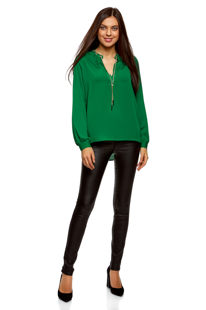 Блузка женская oodji Collection, цвет: изумрудный. 21414004/45906/6D00N. Размер 42-170 (48-170) футболка женская oodji ultra цвет изумрудный 14208001 19768 6d00n размер xs 42