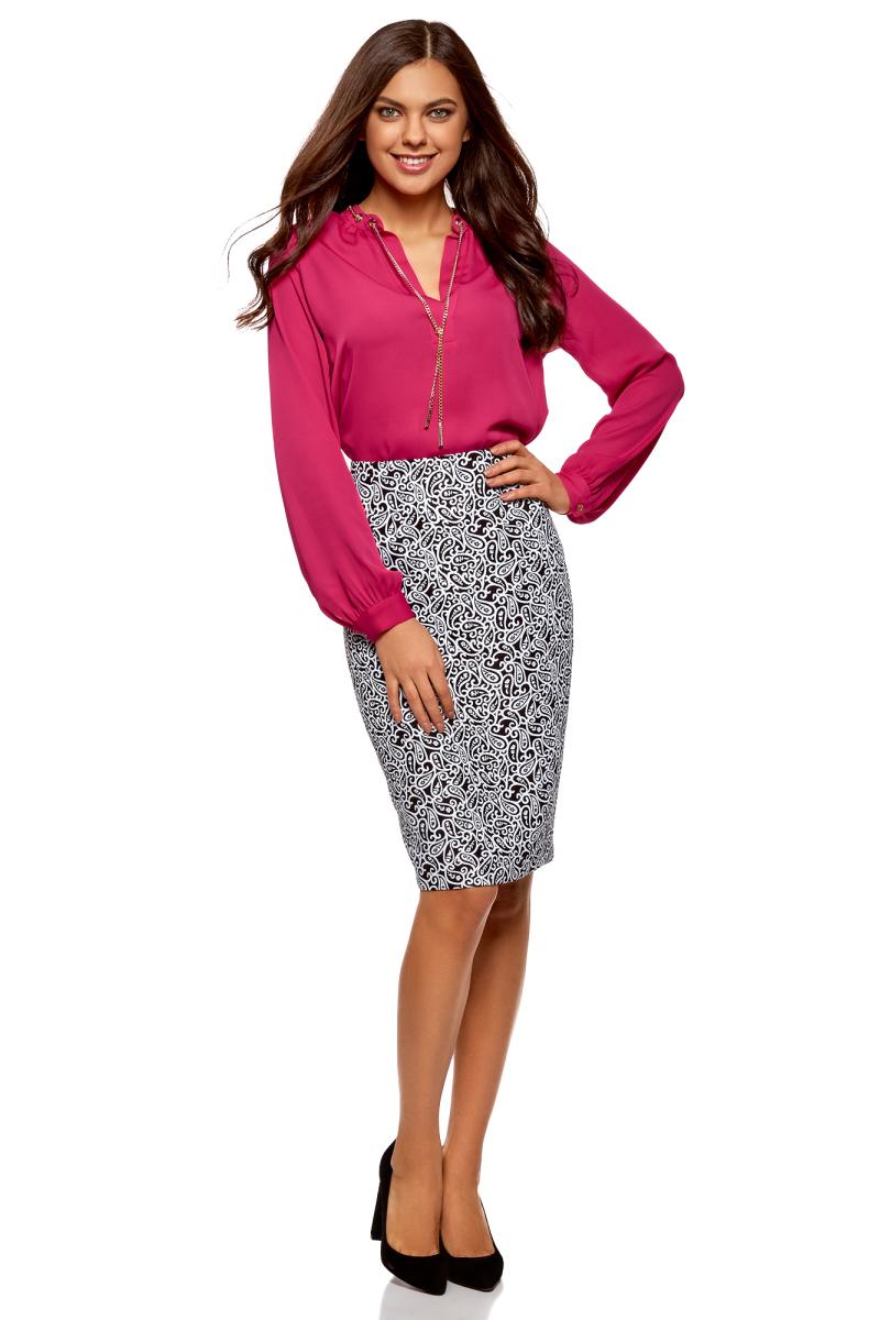 Блузка женская oodji Collection, цвет: фуксия. 21414004/45906/4701N. Размер 42-170 (48-170) блузка женская oodji collection цвет красный 21404021 43281 4500n размер 42 170 48 170