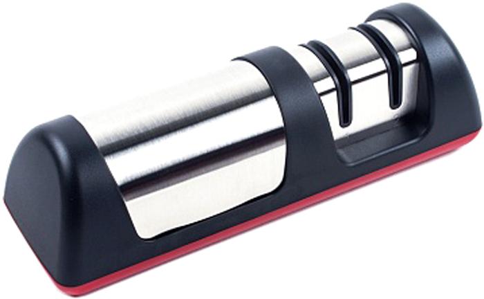Ножеточка Endever Black, цвет: черный, стальной. SMART-13SMART-13Ручная ножеточка Endever Black имеет два отсека: первый - карбид-вольфрамовый точильный элемент для грубой заточки и второй - керамический точильный элемент для финишной заточки и полировки. Антискользящая поверхность не допускает выскальзывания устройства из рук человека, а также обеспечивает его устойчивое положение на столе.