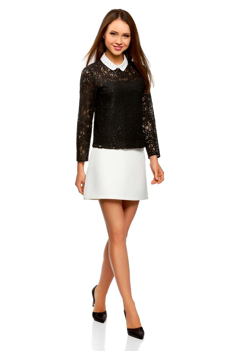 Блузка женская oodji Collection, цвет: черный, белый. 21411092-2/47532/2912B. Размер 42-170 (48-170) платье oodji collection цвет черный белый 24001104 1 35477 1079s размер l 48