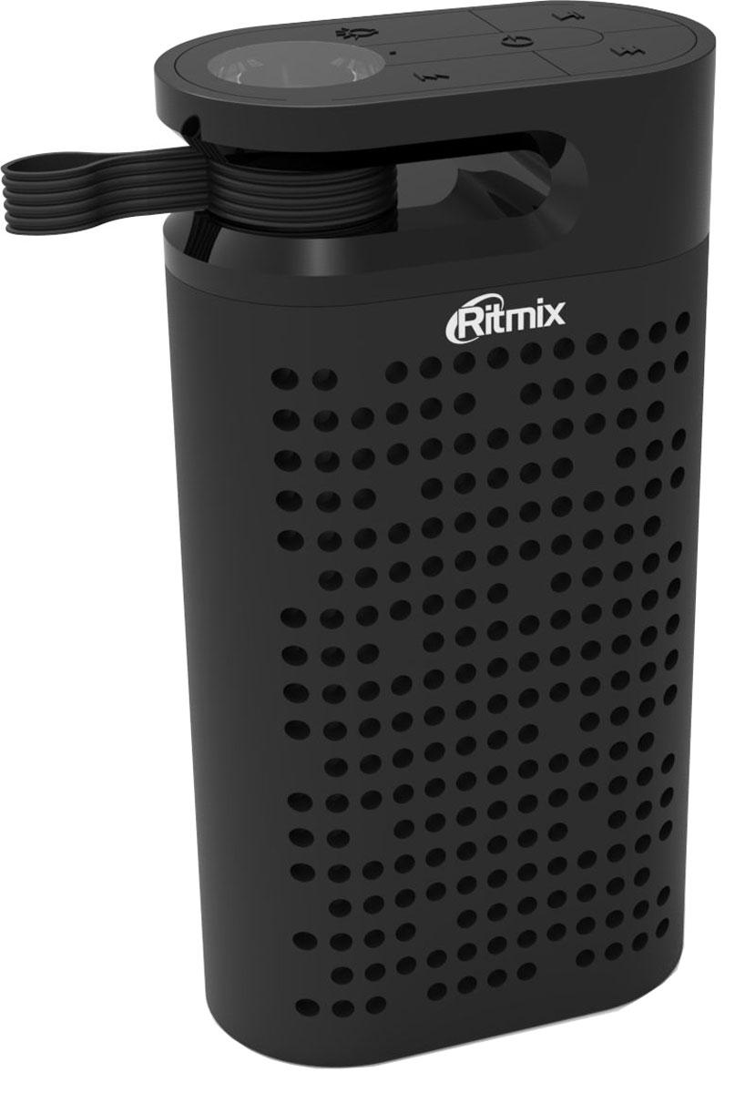 Ritmix SP-410PB, Black портативная акустическая система15119389Ritmix SP-410PB - компактная акустическая Bluetooth-система (портативная колонка) с дополнительной функцией мобильного зарядного устройства (Power Bank) и встроенным ярким LED-фонариком. Имеет чистое звучание, воспроизводит музыку, аудиокниги и любые другие MP3-файлы с любых современных мультимедийных устройств (мобильные телефоны, смартфоны, планшеты, МР3-плееры, нетбуки, ноутбуки, портативные игровые приставки и т.п.).Особенность этой портативной колонки – наличие слота для карт памяти microSD, при воспроизведении с карты памяти длительность работы колонки без подзарядки превышает 50 часов (на средней громкости), а аккумулятор вашего смартфона не разряжается. Встроенный аккумулятор портативной колонки имеет увеличенную ёмкость 4400 мАч и не только поддерживает длительное автономное воспроизведение музыки, но и работает как мобильное зарядное устройство (Power Bank) с выходом USB 5В 1А.Также в колонку встроен яркий LED-фонарь и удобная прочная надёжная петля для подвеса. Лёгкий прочный корпус имеет приятное покрытие Soft Touch. В колонке также есть FM-радио (для хорошего приема сигнала подключите, пожалуйста, провод питания – он будет выполнять функцию FM антенны). Разъем питания и карты памяти защищены плотной резиновой крышечкой.Рекомендуем Ritmix SP-440PB к использованию в походах, загородных прогулках, пикниках, на даче и в любых путешествиях.Как выбрать портативную колонку. Статья OZON Гид