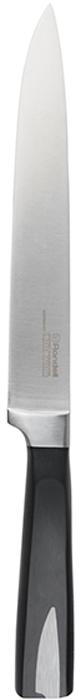 Нож разделочный Rondell Cascara, длина лезвия 20 смRD-686Разделочный нож Rondell Cascara выполнен из высококачественной нержавеющей стали X30Cr13.Особенности клинка: двусторонняя заточка лезвия, идеальная балансировка, твердость по шкале Роквелла 52-55 HRC. Рукоятка выполнена из бакелита со вставками из нержавеющей стали в виде клинка ножа.Не подходит для посудомоечной машины.