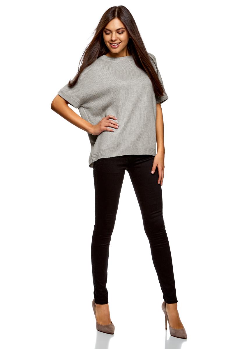 Джемпер женский oodji Ultra, цвет: серый меланж. 63807326/47484/2300M. Размер M (46) джемпер женский oodji ultra цвет серый 14808018 47292 2300m размер xs 42