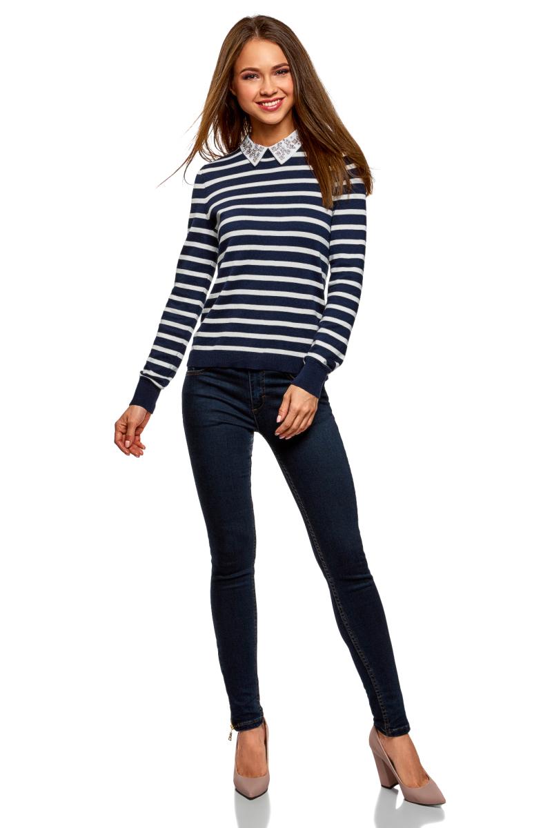 Джемпер женский oodji Ultra, цвет: темно-синий, белый. 63812617/47376/7912S. Размер XXL (52)