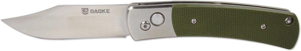 Нож автоматический Daoke, цвет: зеленый, длина клинка 8,9 см. D208gD208gАвтоматический нож Daoke придется по нраву охотникам и туристам. За счет понижения спуска клинка (Drop-Point) нож прекрасно подойдет для реза. Данный нож отсылает вас к легендарному советскому ножу НР-40, форма клинка которого зарекомендовала себя во времена войны. Изготовленный из классической нержавеющей стали 440С (аналог 95х19) и дополненный накладками из G10 - этот нож будет прекрасным и надежным спутником для всех любителей рыбалки и активного отдыха.