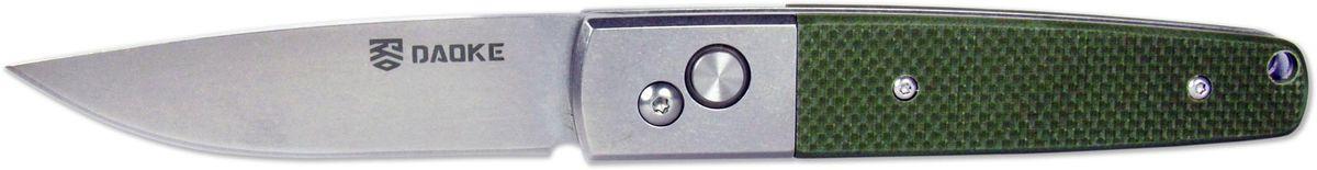 Нож автоматический Daoke, цвет: зеленый, длина клинка 8,9 см. D209gD209gDaoke - острый и быстрый автоматический нож, выполненный из коррозионностойкой хромистой подшипниковой стали 440С. Эта сталь отличается износостойкостью, прочностью, твердостью и высокой устойчивостью к коррозии. Нож подойдет для большинства хозяйственно бытовых нужд как в городе, так и на природе. Нож Daoke оснащен удобной и жесткой клипсой для крепления на ремне или кармане.
