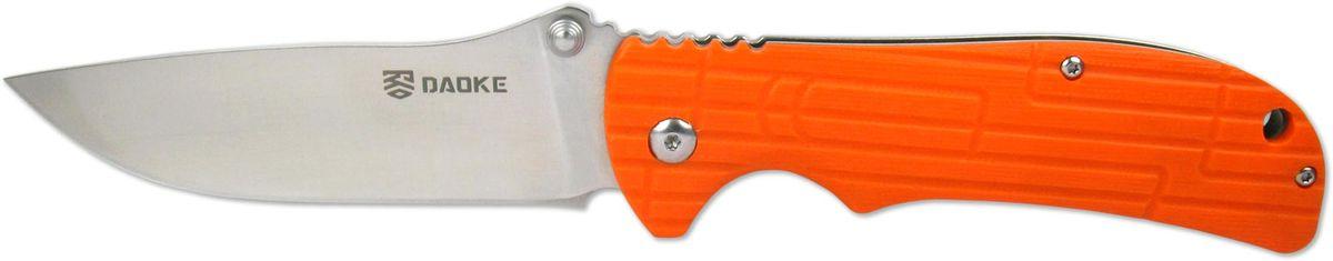 Нож складной Daoke, цвет: оранжевый, длина клинка 8,9 см. D505oD505oНож D505o - туристический вариант складника от бренда Daoke. Помимо качественной стали 440С его отличительной чертой будет оранжевая плашка на рукояти, выполненная из G10. На другой стороне рукояти имеется клипса для удобного ношения. Нож оснащен надежным замком фиксатором frame lock. Для данного ножа также доступны темно-зеленый и черный цветовые варианты рукояти.