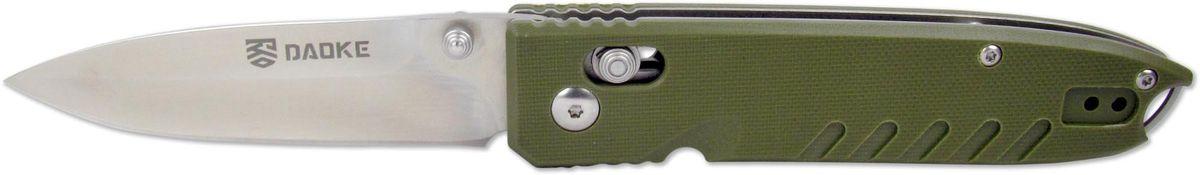 Нож складной Daoke, цвет: зеленый, длина клинка 8,5 см. D611gD611gD611g - один из самых компактных ножей от бренда Daoke. Нож оснащен надежным замком-фиксатором axis lock, который позволяет открывать и закрывать его одной рукой. D611g вобрал в себя все необходимое, чтобы его можно было использовать как в городе, так и на природе. Нож сочетает в себе великолепную сталь 440С, накладки рукояти из G10 зеленого цвета, удобную клипсу, отверстие под темляк.