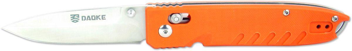 Нож складной Daoke, цвет: оранжевый, длина клинка 8,5 см. D611oD611oD611o - один из самых компактных ножей от бренда Daoke. Нож оснащен надежным замком-фиксатором axis lock, который позволяет открывать и закрывать его одной рукой. D611o вобрал в себя все необходимое, чтобы его можно было использовать как в городе, так и на природе. Нож выполнен из великолепной стали 440С. Данная сталь хорошо принимает заточку, легко возвращает остроту и обладает стойкостью к износу и коррозии. На ноже есть удобная клипса и отверстие под темляк. Накладки рукояти выполнены из G10 яркого оранжевого цвета, благодаря чему нож можно будет легко найти при потере.