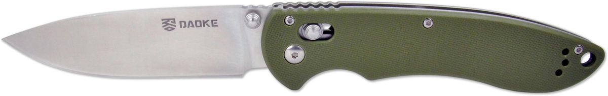 Нож складной Daoke, цвет: зеленый, длина клинка 8,5 см. D612gD612gУниверсальный складной нож Daoke D612g отлично подойдет как туристов и любителей активного отдыха, так и для ношения в городе. Нож помимо ухватистой рукояти, выполненной из G10 черного цвета, с подпальцевой выемкой обладает эргономичной формой клинка. Надежный замок axis lock предотвратит случайное закрытие. Качество сборки, без каких-либо нареканий. Люфты отсутствуют, ход клинка хороший, замок работает четко. Все сделано так, как и должно быть у качественного ножа.