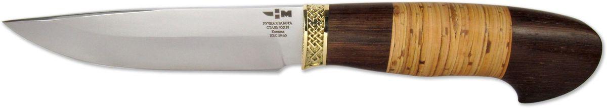 Нож складной Ножемир Варан, цвет: бежевый, темно-коричневый, длина клинка 13,9 смВАРАН (3367)кНож нескладной из кованой стали отличает привлекательный внешний вид. Современный дизайн обуславливают его универсальное использование. Нож выполнен из качественной стали марки 95х18, которая отличается антикоррозионной устойчивостью. Чрезмерная влажность воздуха и неблагоприятные условия эксплуатации не ухудшат первоначальную функциональность инструмента. Простая и надежная конструкция рукояти обеспечивает удобную эксплуатацию. Нескладной нож не нуждается в дополнительном уходе. Благодаря эргономичной форме рукояти минимизируется вероятность скольжения или выскальзывания ножа в самый неподходящий момент. Режущий инструмент не относится к категории холодного оружия, поэтому нет необходимости оформлять специальное разрешение. Лезвие нескладного ножа имеет твердость 62 HRC, а это гарантирует отменную стойкость к самым разнообразным повреждениям. Рукоятка режущего инструмента изготовлена из карельской березы, а отделка выделяется инновационным дизайном. Именно поэтому любители красивых ножей не будут разочарованы. Нож Варан (3367) к комплектуется поясными ножнами из натуральной кожи. Качественный режущий инструмент способен выдержать умеренные динамические нагрузки, поэтому в долговечности и износостойкости ножа сомневаться не приходится. Основные характеристики нескладного ножа: длина лезвия -14. 2 см, общая длина - 26 см, толщина - 4 мм.