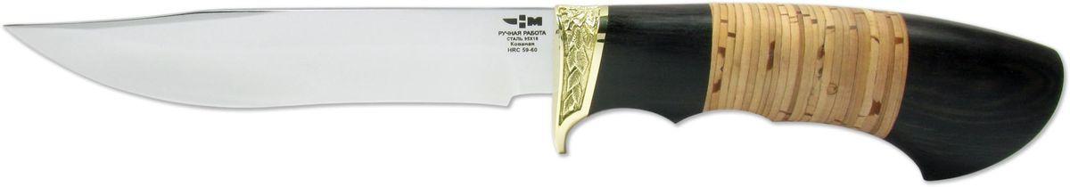Нож охотничий Ножемир Гепард, цвет: бежевый, темно-коричневый, длина клинка 15,5 смГЕПАРД (3363)кОхотничий нож Гепард специально разработан для разделки рыбы или мяса, для обрезания веток, которые могут пригодиться на охоте. Благодаря большому опыту в производстве туристических и охотничьих ножей, компания смогла изучить все пожелания и требования к данному снаряжению. Все образцы обладают удобной рукоятью, прочным и острым клинком. Для изготовления ножа применяется качественная, высокоуглеродистая сталь, устойчивая к коррозии. Марка нержавеющей кованой стали - 95х18, она усилена специальными армирующими упругими волокнами, обеспечивает длительное сохранение заточки. Клинок имеет толщину лезвия 2,4 мм, длину - 155 мм, показатель твердости - 62 HRC. Рукоять охотничьего ножа сделана из благородной древесины. Для декорирования применяется художественное литье из латуни. Сочетание красивого дерева и литья делает внешний вид ножа стильным и богатым. Помимо этого, латунная гарда предупреждает выскальзывание рукояти из руки. Для безопасного ношения в комплект с ножом входят прочные кожаные ножны. Нож Гепард имеет отличное качество, подтвержденное соответствующим сертификатом ЭКЦ МВД. Снаряжение для охоты, рыбалки, туристических походов можно покупать без специального разрешения, так как оно не является холодным оружием.