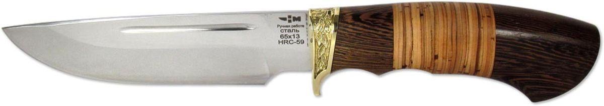 Нож охотничий Ножемир Глухарь, цвет: бежевый, темно-коричневый, длина клинка 14 смГЛУХАРЬ (4666)нНож Глухарь из нержавеющей стали без особого труда справится с разделкой рыбы, мяса или обрезанием веток. Удобная рукоять обуславливает комфортную эксплуатацию в самых различных условиях. Привлекательный внешний вид режущего инструмента в сочетании с его отличной функциональностью предопределяют популярность ножа среди большого числа покупателей. В комплектации поставляются ножны из натуральной кожи насыщенного коричневого цвета.