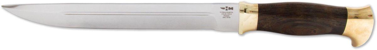 Нож охотничий Ножемир Казачий, цвет: темно-коричневый, длина клинка 24,1 смКАЗАЧИЙ (1870)кЭта модель выполнена по мотивам традиционных казачьих ножей, которые изготавливались из обломанных шашек и сабель. Нож имеет широкий обух и мощную двухстороннюю пятку. Такая особенность делают эту модель максимально надежной и прочной. Нож удобно использовать для нанесения рубящих и колющих ударов. Для безопасной транспортировки и хранения используется удобный кожаный чехол.