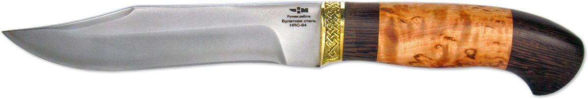Нож нескладной Ножемир Комбат, цвет: бежевый, темно-коричневый, длина клинка 15 смКОМБАТ (5216)бБрутальный вид этого ножа не оставит равнодушным ни одного человека, увлеченного активными видами отдыха, будь то туризм, охота или рыбалка. Нож имеет клинок из булатной стали, которая закалена до твердости 64 HRC, что обеспечивает высокую прочность и максимальную живучесть ножа в любых условиях. Форма клинка рассчитана на различные типы задач: хозяйственно-бытовые, лагерные, выживание в дикой природе. Клинок отлично приспособлен для совершения режущих, рубящих и колющих движений. Рукоять ножа выполнена наборным способом из карельской березы, дерева венге, латуни. Латунная оковка, помимо основной функции, выполняет также декоративную функцию - делает нож более элегантным и стильным. Нож комплектуется практичными ножнами из качественной кожи. Благодаря ножнам, нож будет всегда рядом со своим владельцем.