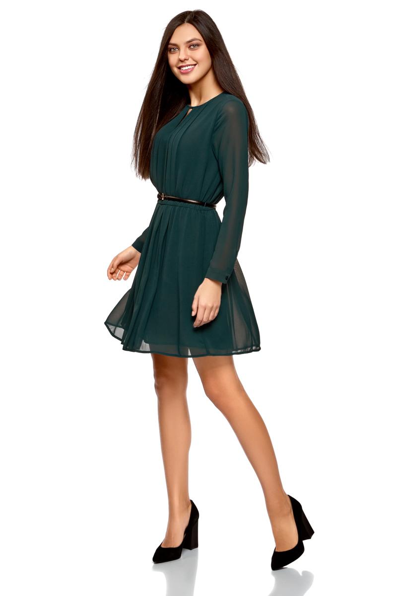 Купить Платье oodji Collection, цвет: морская волна. 21913017/17358/6C00N. Размер 40-170 (46-170)