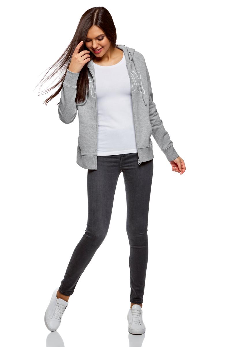 Толстовка женская oodji Ultra, цвет: серый, белый. 16907003-1/48338/2310Z. Размер S (44)16907003-1/48338/2310ZСтильная женская толстовка, выполненная изнатурального хлопка с добавлением полиэстера, отлично дополнит ваш гардероб. Модель с капюшоном и длинными рукавами спереди имеет застежку-молнию и дополнена двумя карманами. Объем капюшона регулируется при помощи шнурка-кулиски.