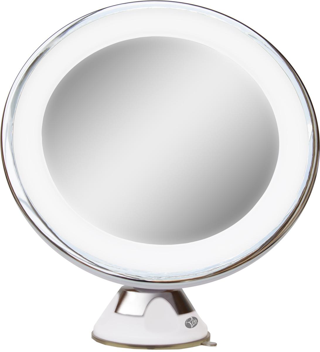 Rio Косметическое зеркало MMSU3958Уникальное косметическое зеркало с возможностью крепления на любую гладкую поверхность с помощью присоски с LED подсветкой и 5-ти кратным увеличением. Питание от 3 батареек AAA, 1,5V (LR03) - в комплетк не входят. Гарантия 12 месяцев.