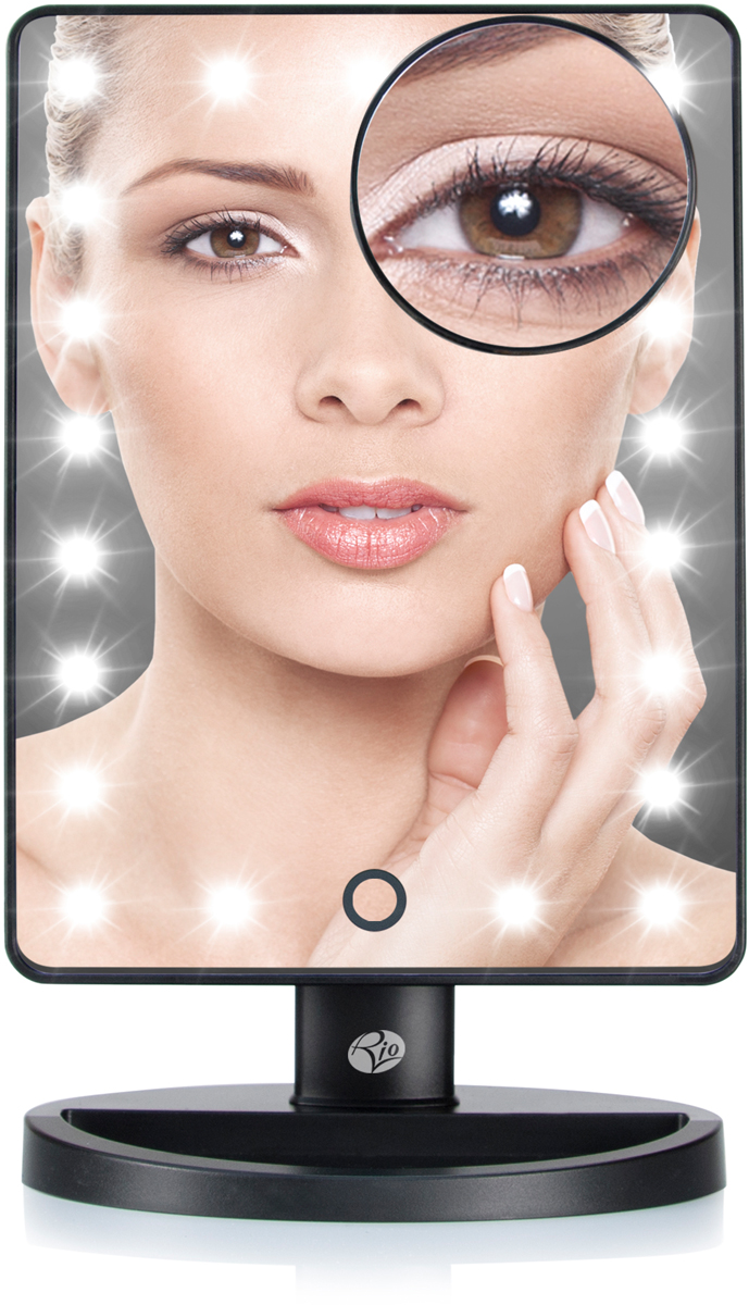 Rio Косметическое зеркало MMSP0003959Большое зеркало с подсветкой (без увеличения) с дополнительным зеркалом с 10-ти кратным увеличением, которое можно удобно разместить в любой части основного зеркала или держать в руках. Теперь ничто не ускользнет от вашего взгляда! Питание от 4 батареек AA, 1,5V (R6, LR6) - в комплект не входят. Гарантия 12 месяцев.