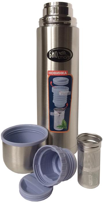 """Термос """"Biostal"""" с  пробкой с ситечком. Термос предназначен для хранения горячих и холодных напитков (чая, кофе).  Лёгкий и прочный Термос """"Biostal"""" изготовлен из высококачественной нержавеющей стали. Сохраняет напитки горячими или холодными долгое время. Изделие удобно в использовании – вы можете пить не только из крышки-чашки, но и прямо из горлышка.  Термос  укомплектован пробкой с емкостью для чая или трав, а также специальным удобным ситечком для заваривания из хирургической стали 18/8. Даже самые мелкие листья останутся в ситечке, созданном с применением лазерной перфорации, и вы сможете насладиться чистым и вкусным напитком. Диаметр отверстия в ситечке – всего 0,5 мм!"""