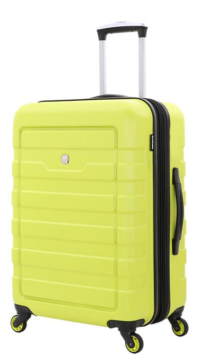 Чемодан Wenger Tresa, на колесах, цвет: салатовый, 66 лWG6581227165Стильный чемодан повышенной комфортности для двоих.Чемодан изготовлен из высококачественного пластика, с рельефной отделкой корпуса, в салатовом цвете. На внешних сторонах имеются эргономичные ручки: для верхнего и бокового захвата, также предусмотрены боковые ножки для бокового хранения чемодана. Для быстрой транспортировки имеются 4 поворотных колеса с максимальным радиусом вращения. Телескопическая ручка из алюминия складывается в защитный отсек.В чемодане предусмотрены два главных отсека: нижний – повышенной вместимости, с защитной х-образной резинкой, верхний, для дополнительных вещей – с сетчатым клапаном на молнии. Также имеется удобный карман для мелких предметов. Вес: 3,6 кг; объем: 66 л.Размер: 46 x 27 x 66 см.Как выбрать чемодан. Статья OZON Гид