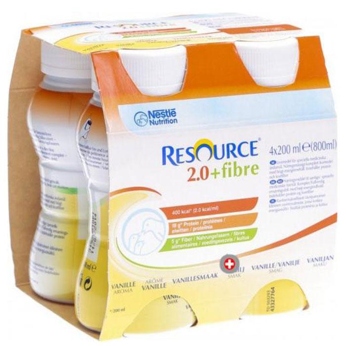Resource 2.0+Fibre Продукт диетического профилактического питания, высококалорийная смесь с пищевыми волокнами со вкусом персика, 4 х 200 мл
