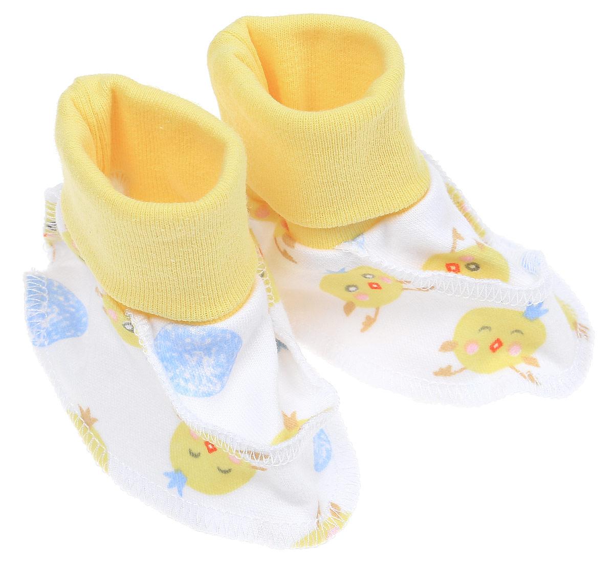 Пинетки для мальчика Чудесные одежки, цвет: белый, желтый, голубой. 5914 20. Размер 625914 20_желтая манжетаМягкие и легкие пинетки Чудесные одежки идеально подойдут для маленьких ножек вашего крохи. Изделие изготовлено из натурального хлопка, отлично пропускает воздух, обеспечивая комфорт. Швы выполнены наружу, что будет для малыша особенно удобным. Пинетки дополнены широкой эластичной резинкой, которая не сдавливает ножку младенца. Такие пинетки - отличное решение для малышей и их родителей!
