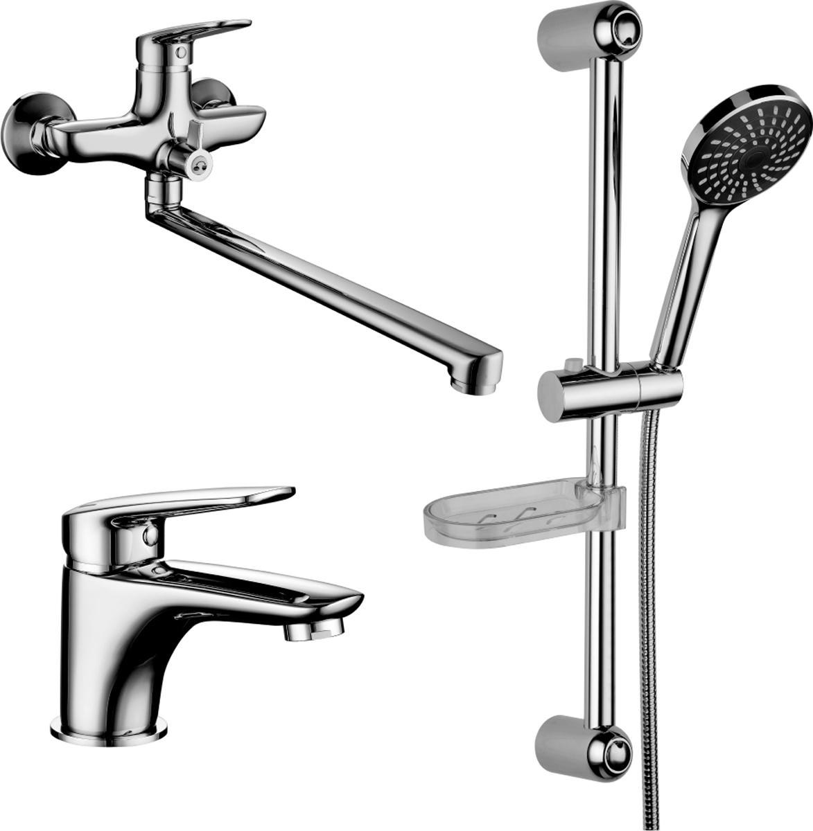 Смеситель Lemark Set, для ванной, 3 в 1LM7302CLM7302C.Комплект смесителей «3 в 1»:Смеситель для умывальника монолитный.• аэратор• керамический картридж 35 мм• гибкая подводка 1/2 35 см• металлическая рукояткаСмеситель для ванны с монолитным изливом.• аэратор• керамический картридж 35 мм• переключатель с керамическими пластинами• металлическая рукояткаДушевой гарнитур.• стойка для душа. Высота – 595 мм• 1-функциональная лейка O98 мм. Режим: распыление• регулируемое по высоте крепление для лейки• душевой шланг 1,5 м (стальной, оплетка с двойным загибом)• регулируемая по высоте мыльницаСмесители LEMARK рассчитаны на 30 лет комфортной эксплуатации.В них соединены современные технологии производства и продуманный конструктив. Установлены комплектующие от известных мировых производителей, являющихся лидерами в своих сегментах:• немецкие аэраторы Neoperl – устройства, регулирующие расход воды;• керамические картриджи и кран-буксы испанской фирмы Sedal.Вся продукция LEMARK устанавливается не только в частном секторе, но и с успехом эксплуатируется в офисах Hewlett-Packard, Walt Disney Studios Sony Pictures Releasing, Mail.ru Group, а также в новом терминале аэропорта «Толмачево» в Новосибирске.Сегодня на смесители LEMARK установлен беспрецедентный 10-летний период бесплатного сервисного обслуживания. Данное условие действует, даже если монтаж изделий производится покупателями cамостоятельно.Сервисная сеть насчитывает 90 гарантийных мастерских по России и странам СНГ.