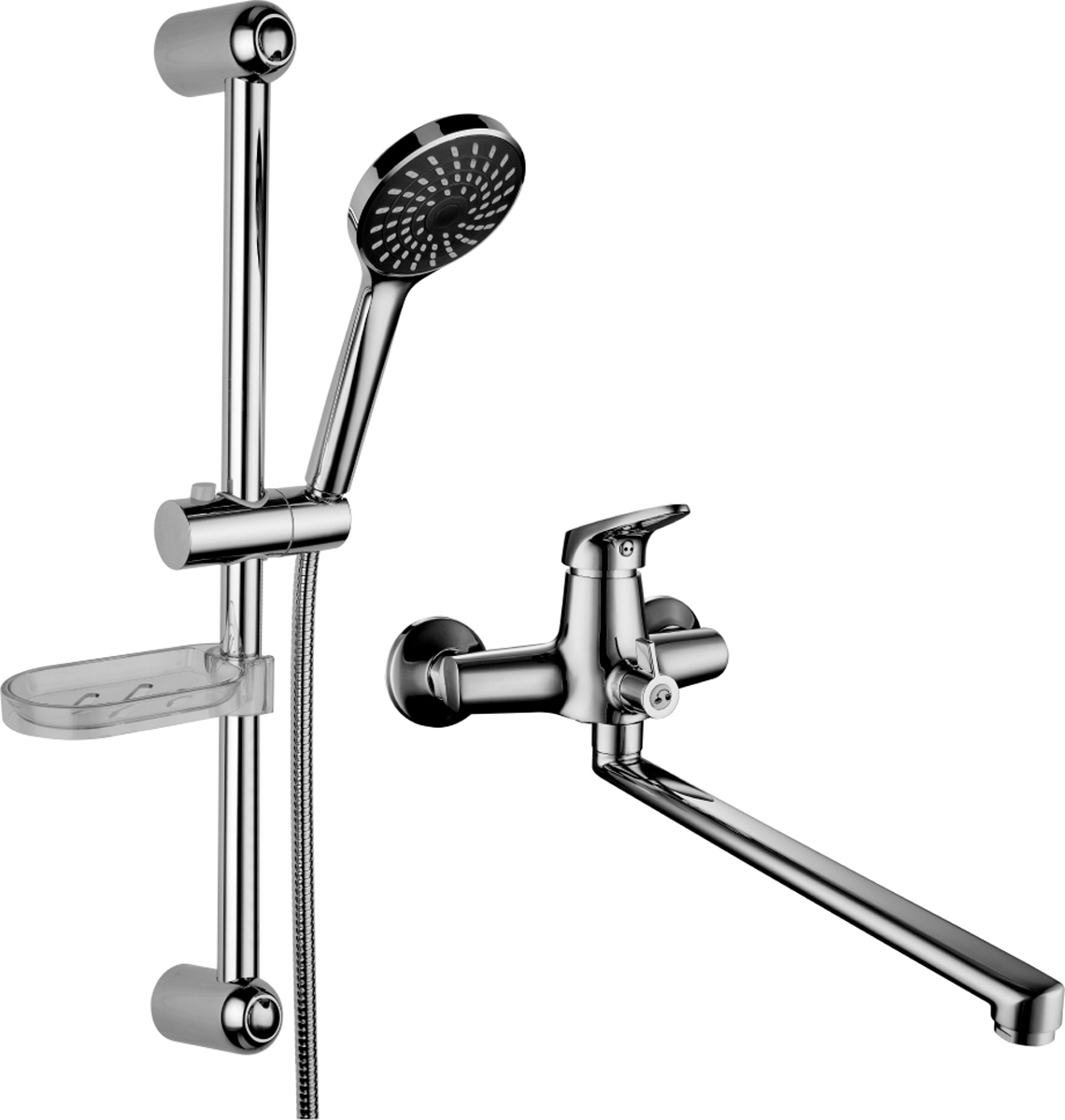 Смеситель Lemark Set, для ванной, 2 в 1LM7303CLM7303C.Комплект смесителей «2 в 1»:Смеситель универсальный с плоским поворотным изливом 350 мм.• аэратор• керамический картридж 35 мм• переключатель с керамическими пластинами• металлическая рукояткаДушевой гарнитур.• стойка для душа. Высота – 595 мм• 1-функциональная лейка O98 мм. Режим: распыление• регулируемое по высоте крепление для лейки• душевой шланг 1,5 м (стальной, оплетка с двойным загибом)• регулируемая по высоте мыльницаСмесители LEMARK рассчитаны на 30 лет комфортной эксплуатации.В них соединены современные технологии производства и продуманный конструктив. Установлены комплектующие от известных мировых производителей, являющихся лидерами в своих сегментах:• немецкие аэраторы Neoperl – устройства, регулирующие расход воды;• керамические картриджи и кран-буксы испанской фирмы Sedal.Вся продукция LEMARK устанавливается не только в частном секторе, но и с успехом эксплуатируется в офисах Hewlett-Packard, Walt Disney Studios Sony Pictures Releasing, Mail.ru Group, а также в новом терминале аэропорта «Толмачево» в Новосибирске.Сегодня на смесители LEMARK установлен беспрецедентный 10-летний период бесплатного сервисного обслуживания. Данное условие действует, даже если монтаж изделий производится покупателями cамостоятельно.Сервисная сеть насчитывает 90 гарантийных мастерских по России и странам СНГ.