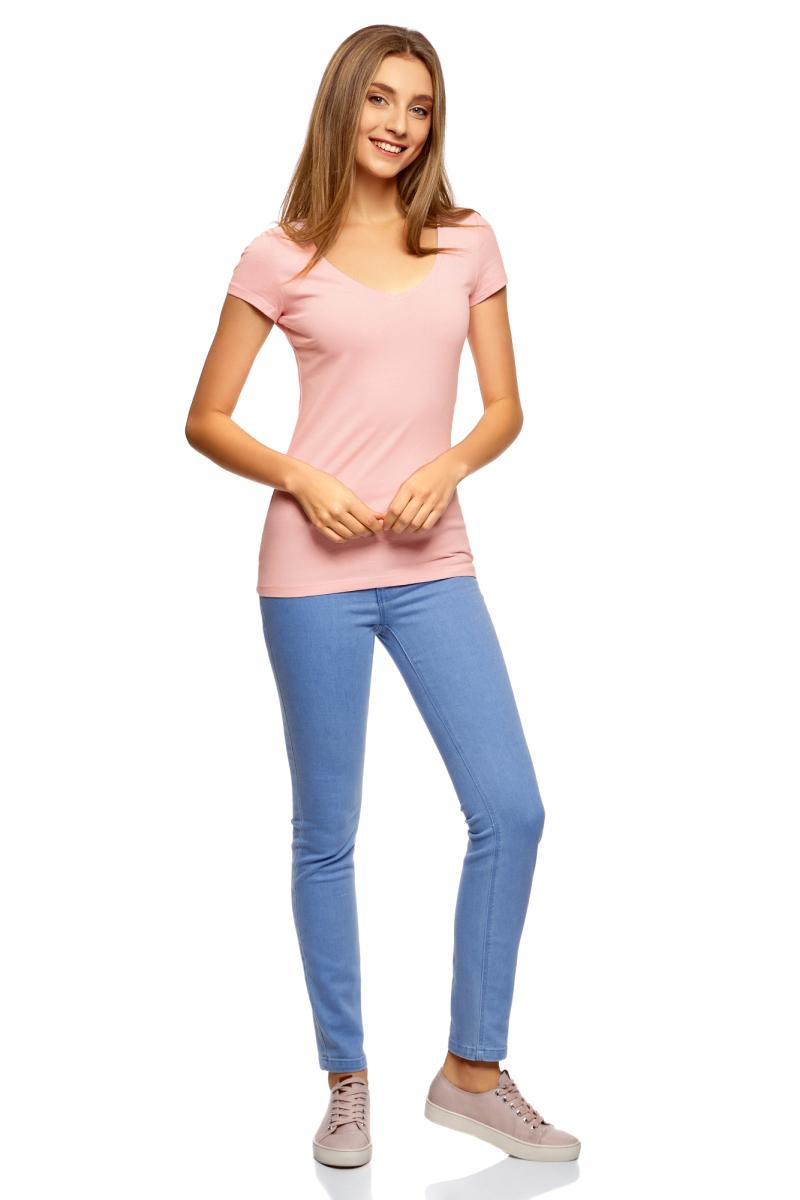 Футболка женская oodji Collection, цвет: светло-розовый. 24701002-5B/46147/4001N. Размер S (44)24701002-5B/46147/4001NБазовая футболка oodji Collection выполнена из эластичного хлопка. Модель с короткими рукавами и V-образным вырезом горловины.