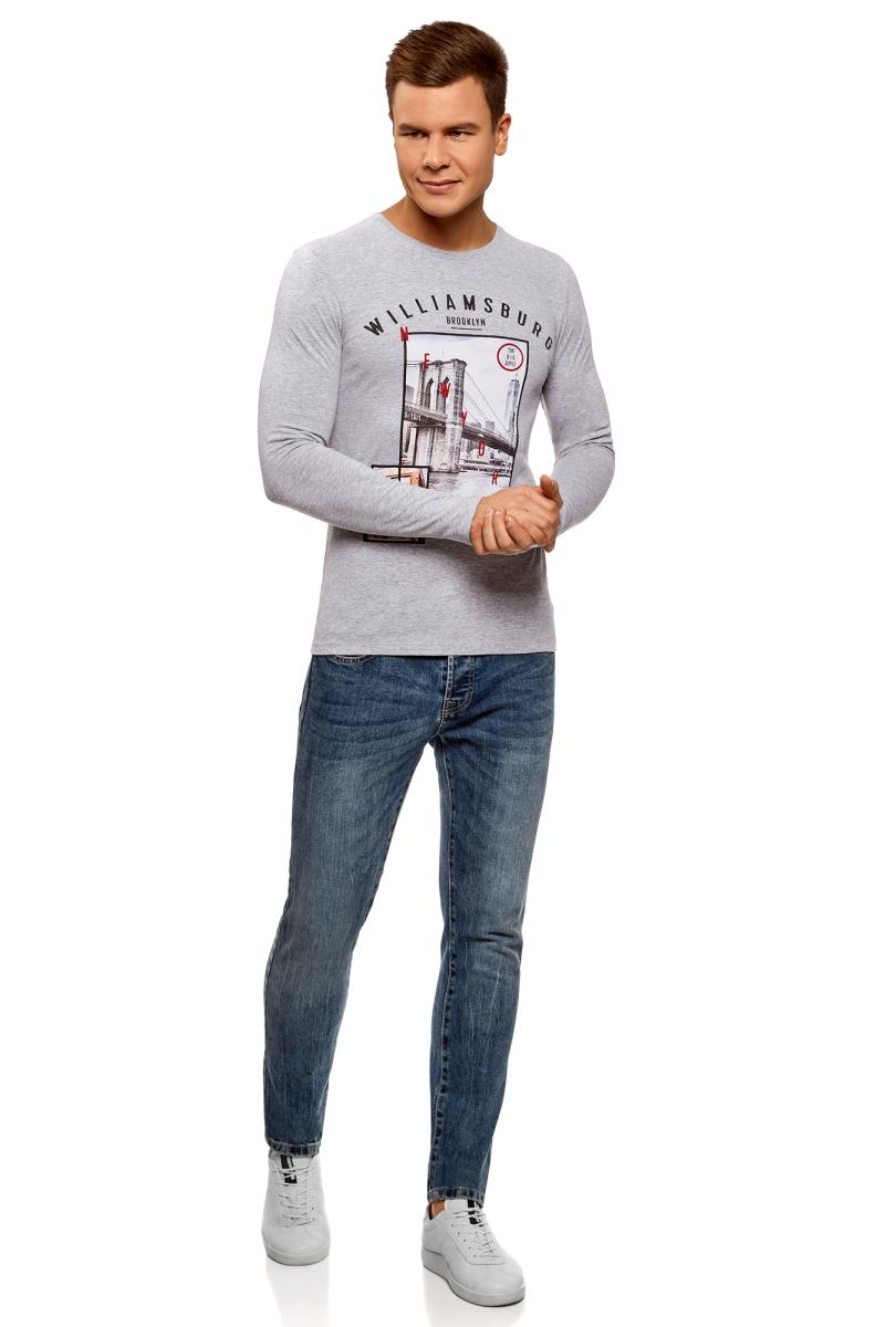 Лонгслив мужской oodji Lab, цвет: серый, темно-синий. 5L512103I/47885N/2379P. Размер XL (56) брюки спортивные мужские oodji lab цвет серый меланж 5l200013m 46295n 2300m размер xl 56