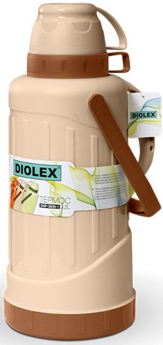 Термос Diolex, цвет: бежевый, 3,2 лDXP-3200-1-BТермос Diolex пластиковый со стеклянной колбой 3200 мл