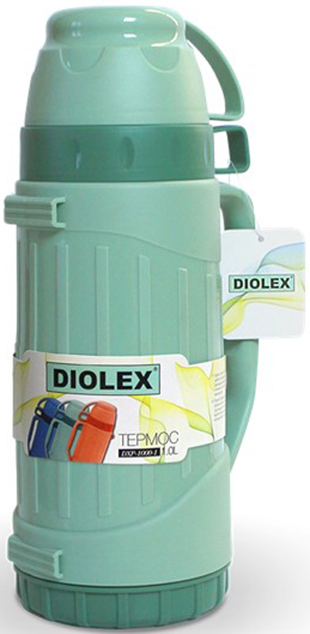 Термос Diolex, цвет: зеленый, 1 лDXP-1000-1-GТермос DIOLEX пластиковый со стеклянной колбой 1000 мл.зеленый