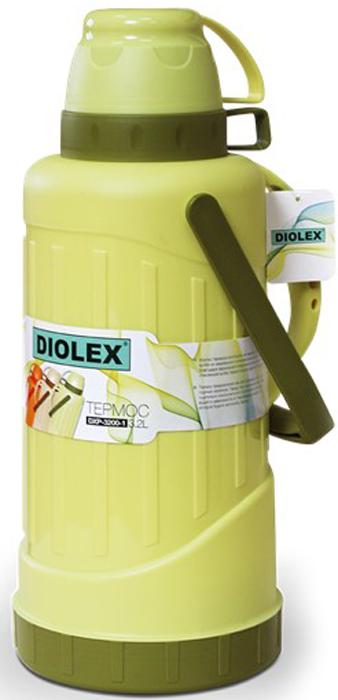 Термос Diolex пластиковый со стеклянной колбой. Крышка термоса выполнена в виде кружки. Удобный, компактный и практичный термос пригодится в путешествии, походе и поездке.