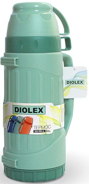 Термос Diolex, цвет: зеленый, 600 млDXP-600-1-GТермос Diolex пластиковый со стеклянной колбой 600 мл (зеленый)